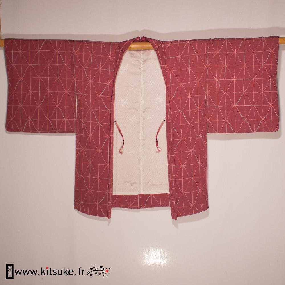 Haori pink with geometric pattern kitsuke