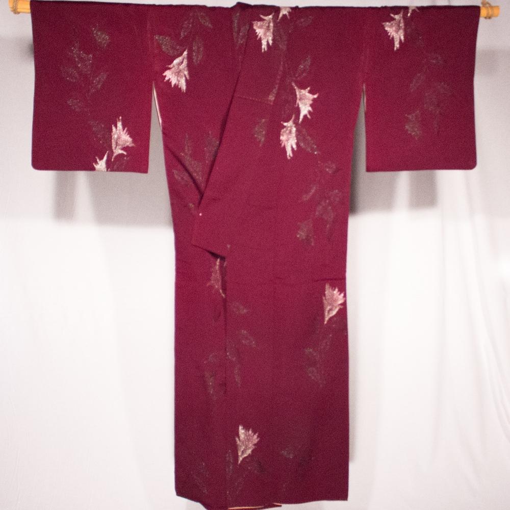 Kitsuke Kimono Rouge aubergine KOMON