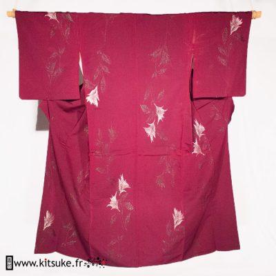 Kitsuke.fr Kimono Rouge aubergine KOMON