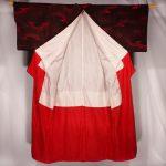 Kimono noir et rouge KOMON kitsuke