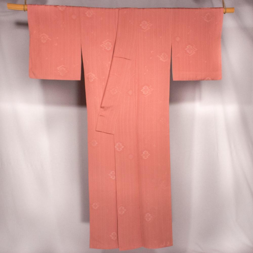 Kimono rose pale KOMON kitsuke