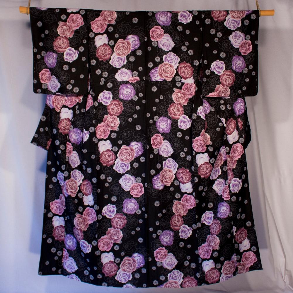 Yukata pink and purple on black background pink flower pattern kitsuke