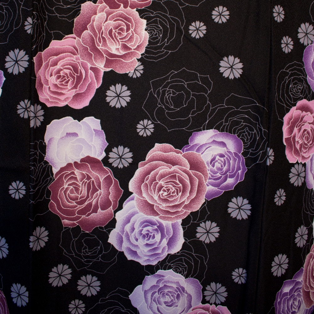 Yukata Pink And Purple On Black Background Pink Flower Pattern