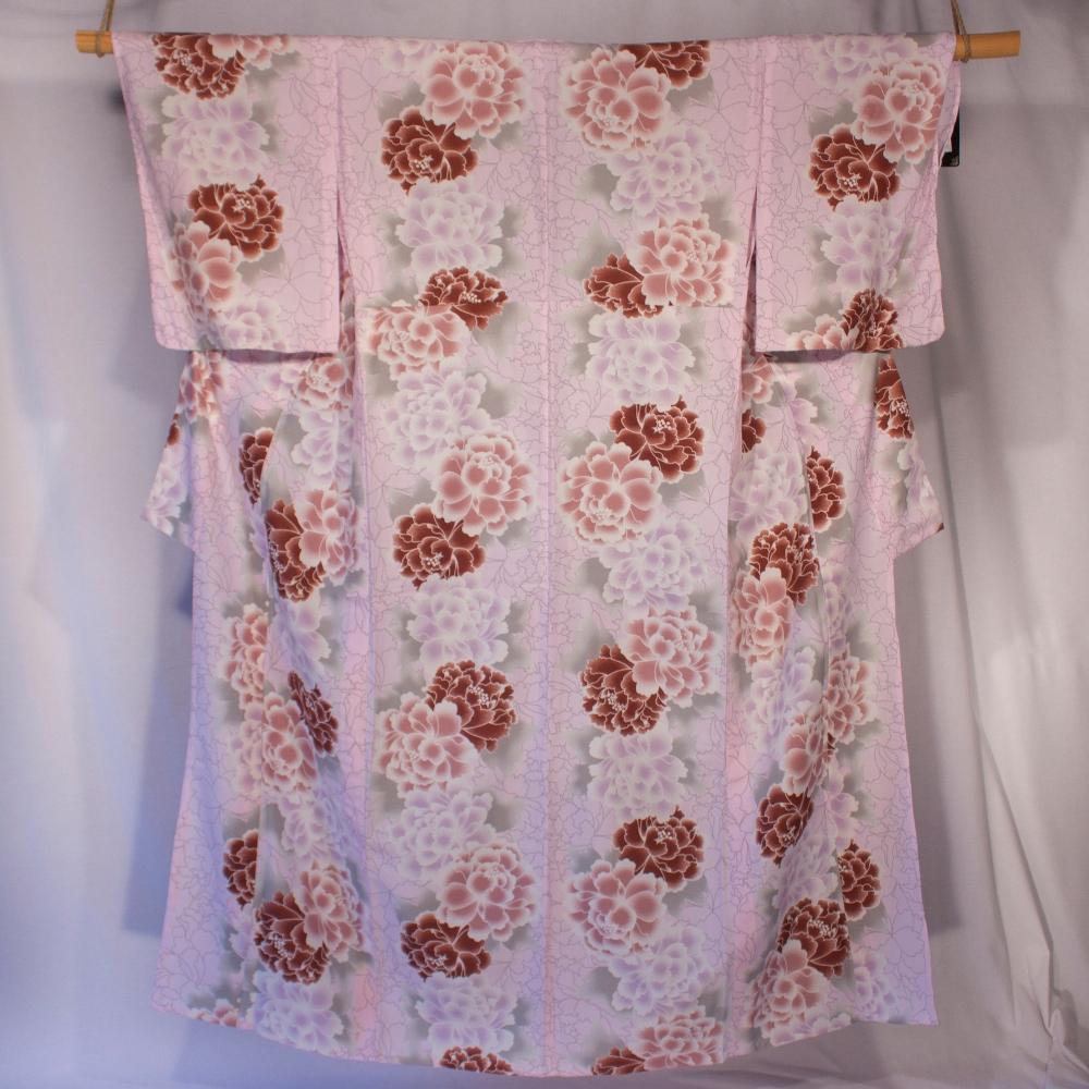 Yukata pink and purple on beige background peony flower pattern kitsuke