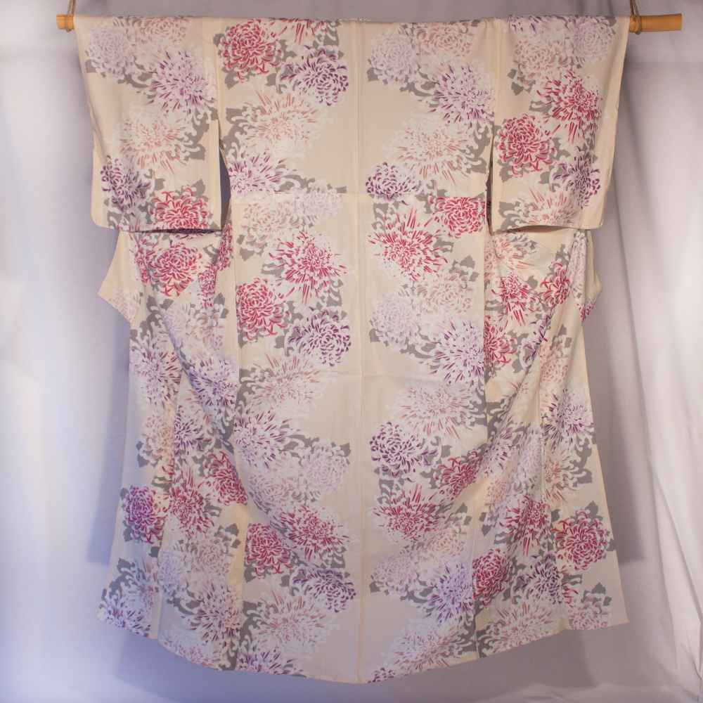 Yukata pink and purple on beige background dalhia flower pattern