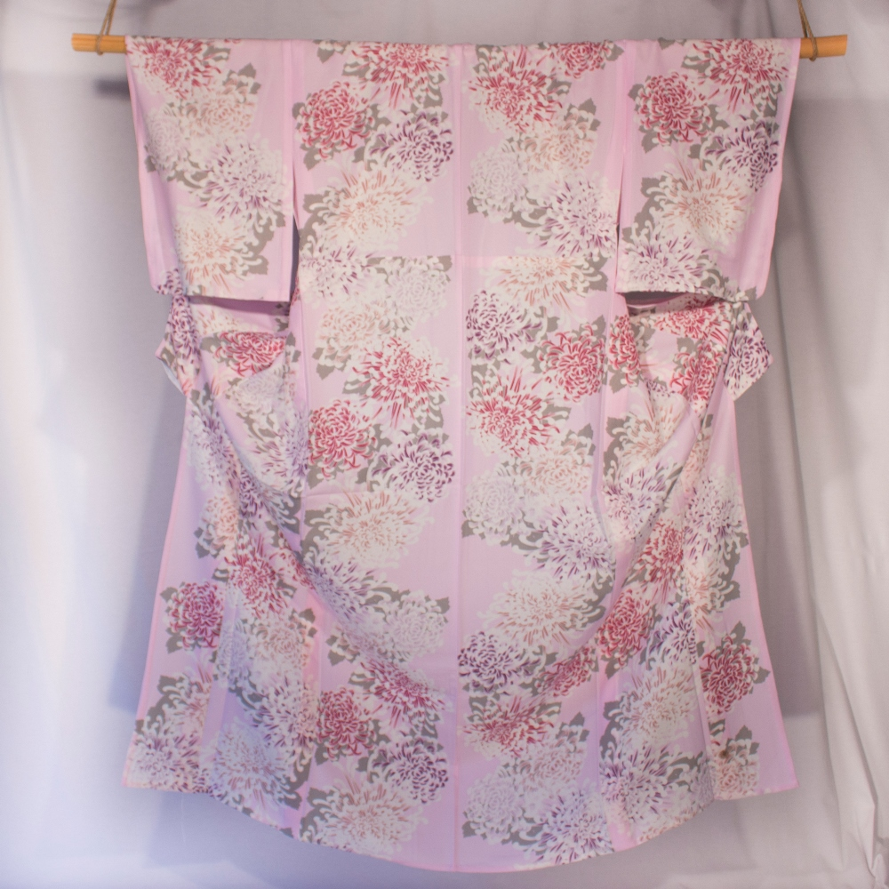 Yukata pink and purple on pink background dalhia flower pattern kitsuke