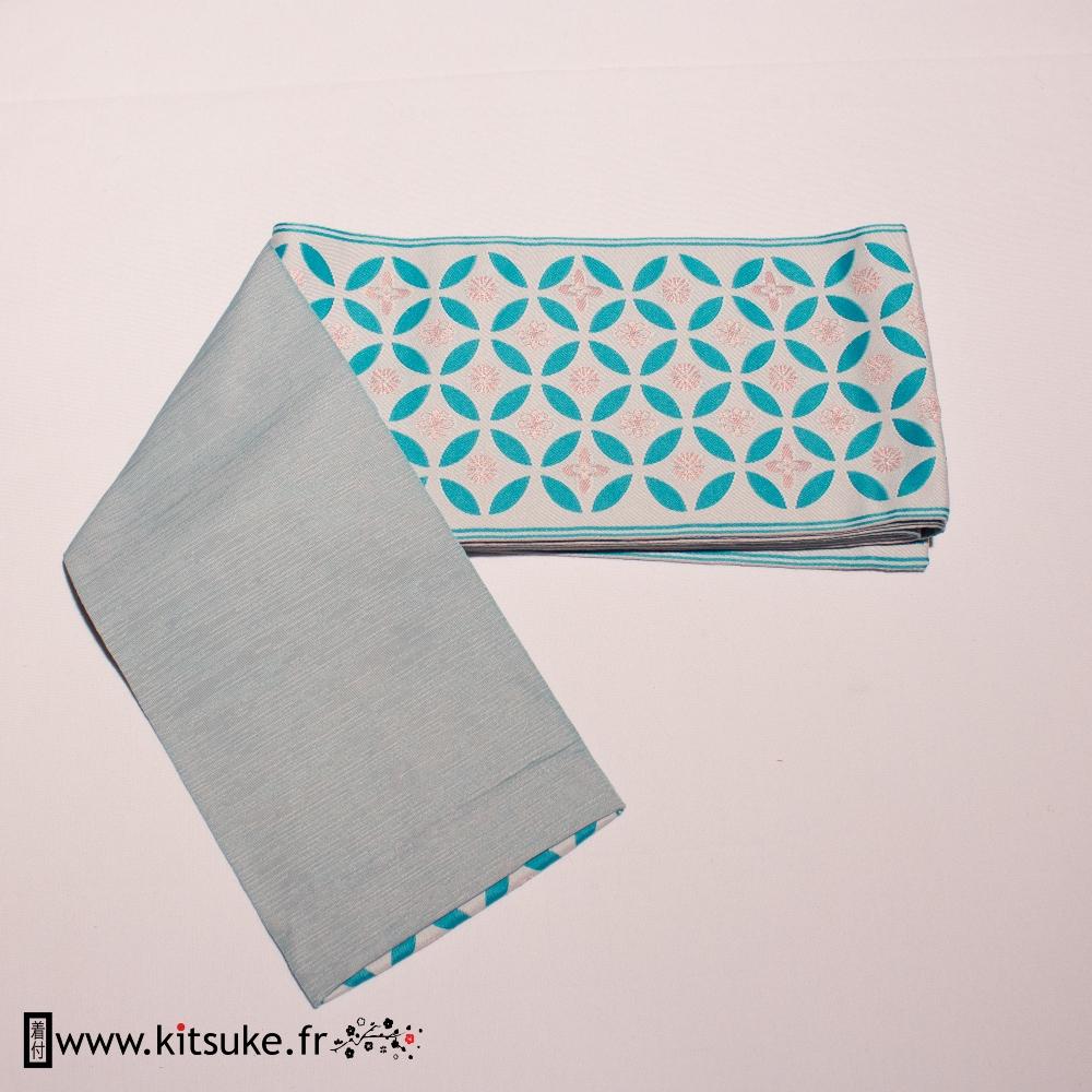 Hanhaba Obi Bleu motif rond kitsuke