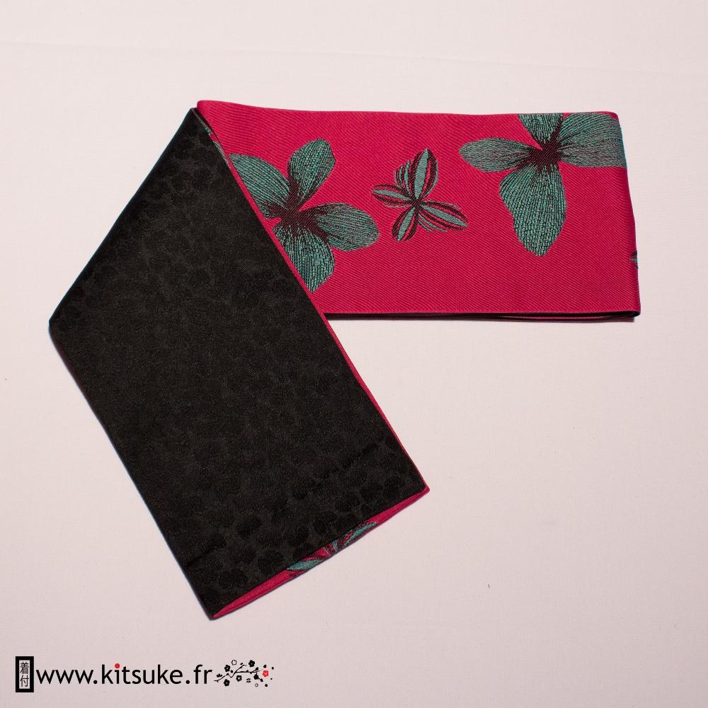 Hanhaba Obi Rose fuchsia motif papillon kitsuke