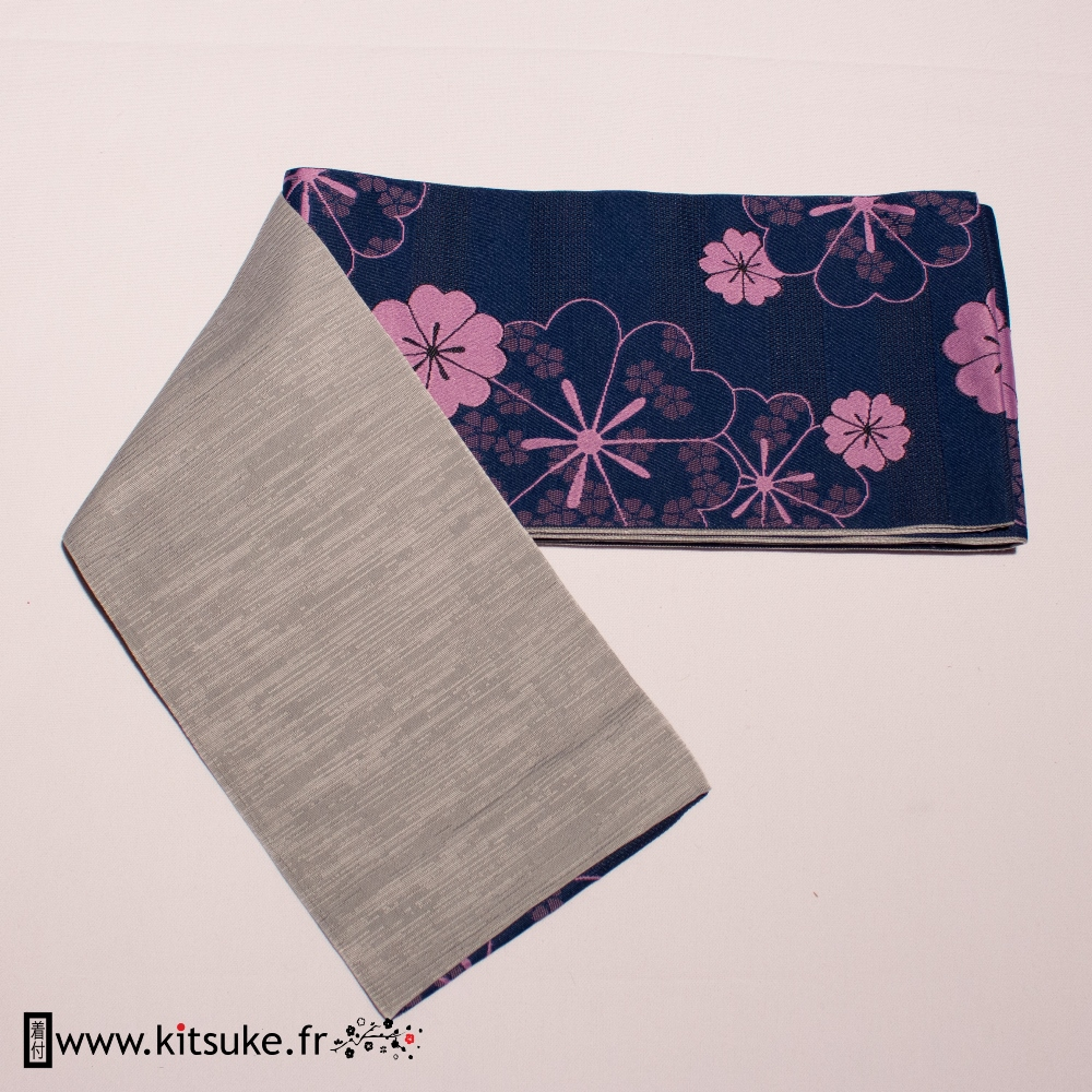 Hanhaba Obi Bleu marine motif fleur kitsuke