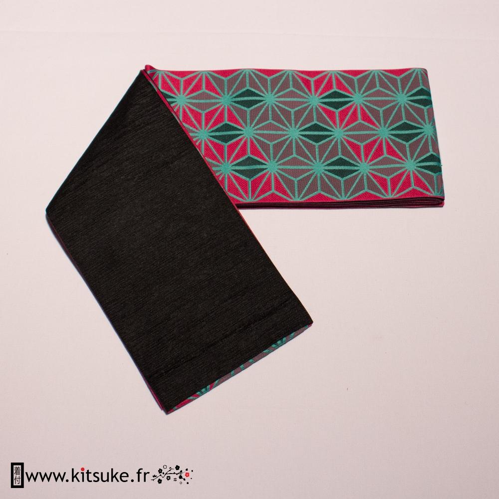 Hanhaba Obi Rose fuchsia motif géométrique kitsuke