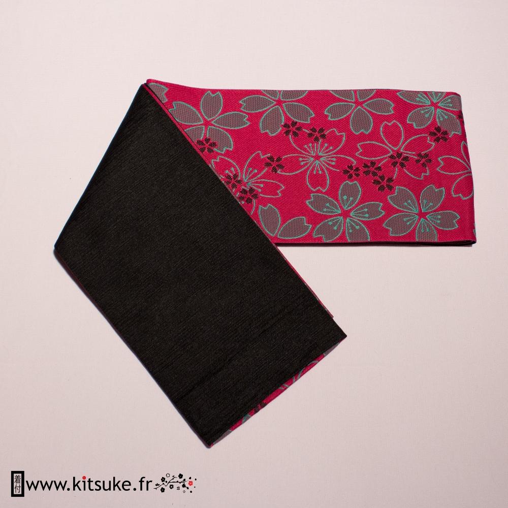 Hanhaba Obi Pink fuchsia flower pattern kitsuke