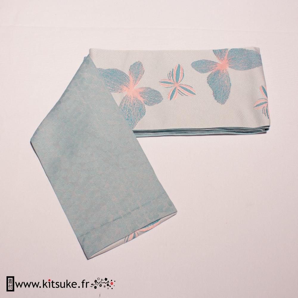 Hanhaba Obi Bleu clair motif papillon kitsuke