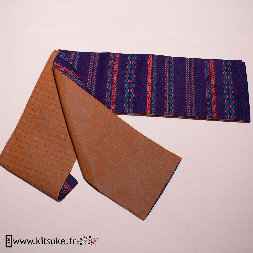 Hanhaba Obi purple with turquoise-orange pattern kituske