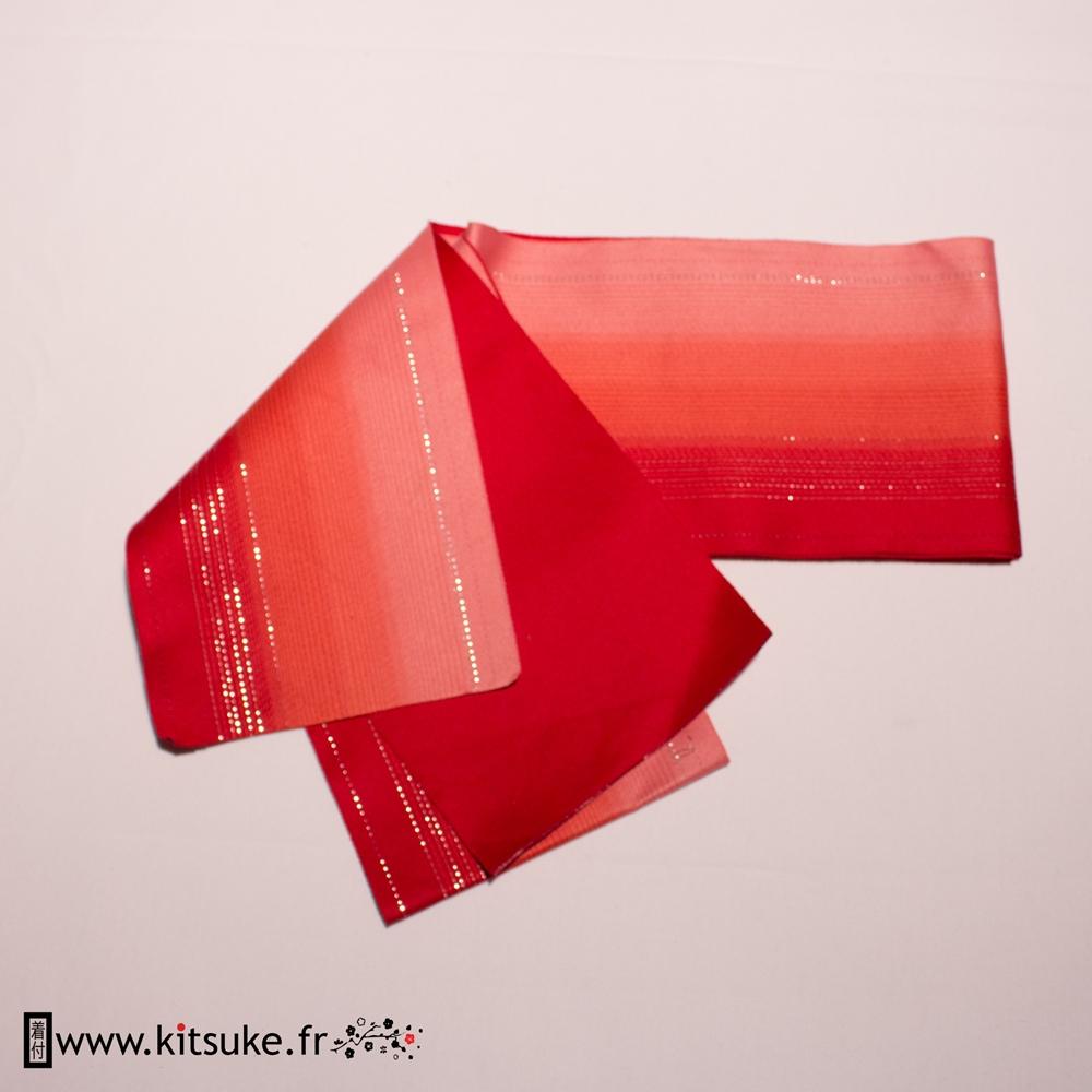 Hanhaba Obi rouge dégradé motif lignes argentées kitsuke