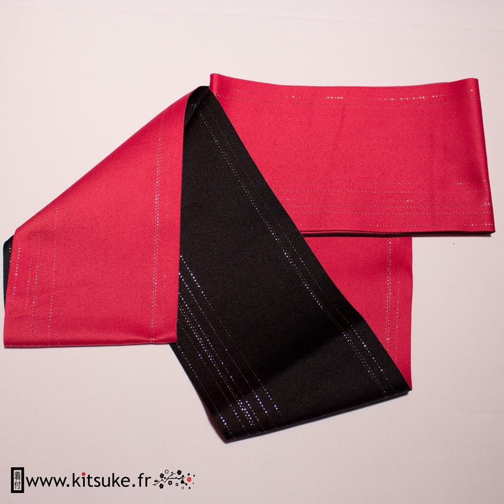 Hanhaba Obi noir motif lignes argentées kitsuke