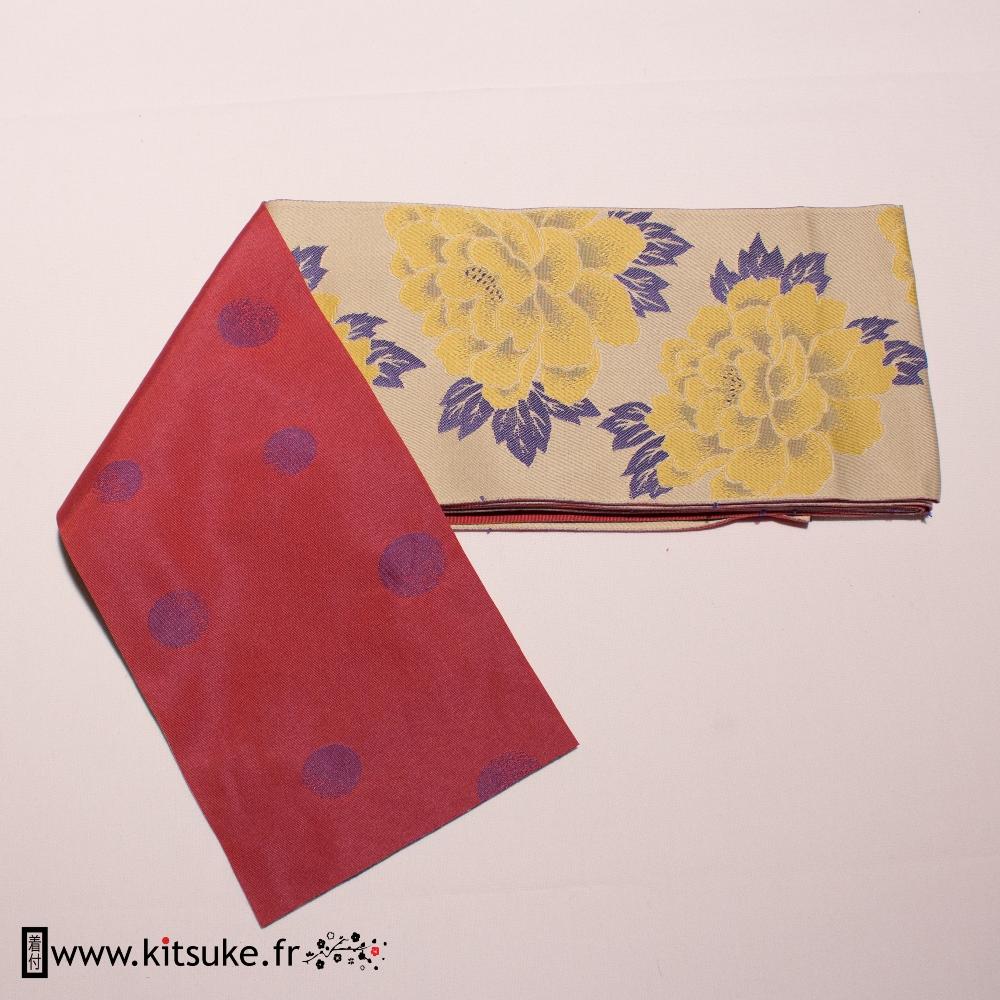 Hanhaba Obi off white flower pattern kitsuke