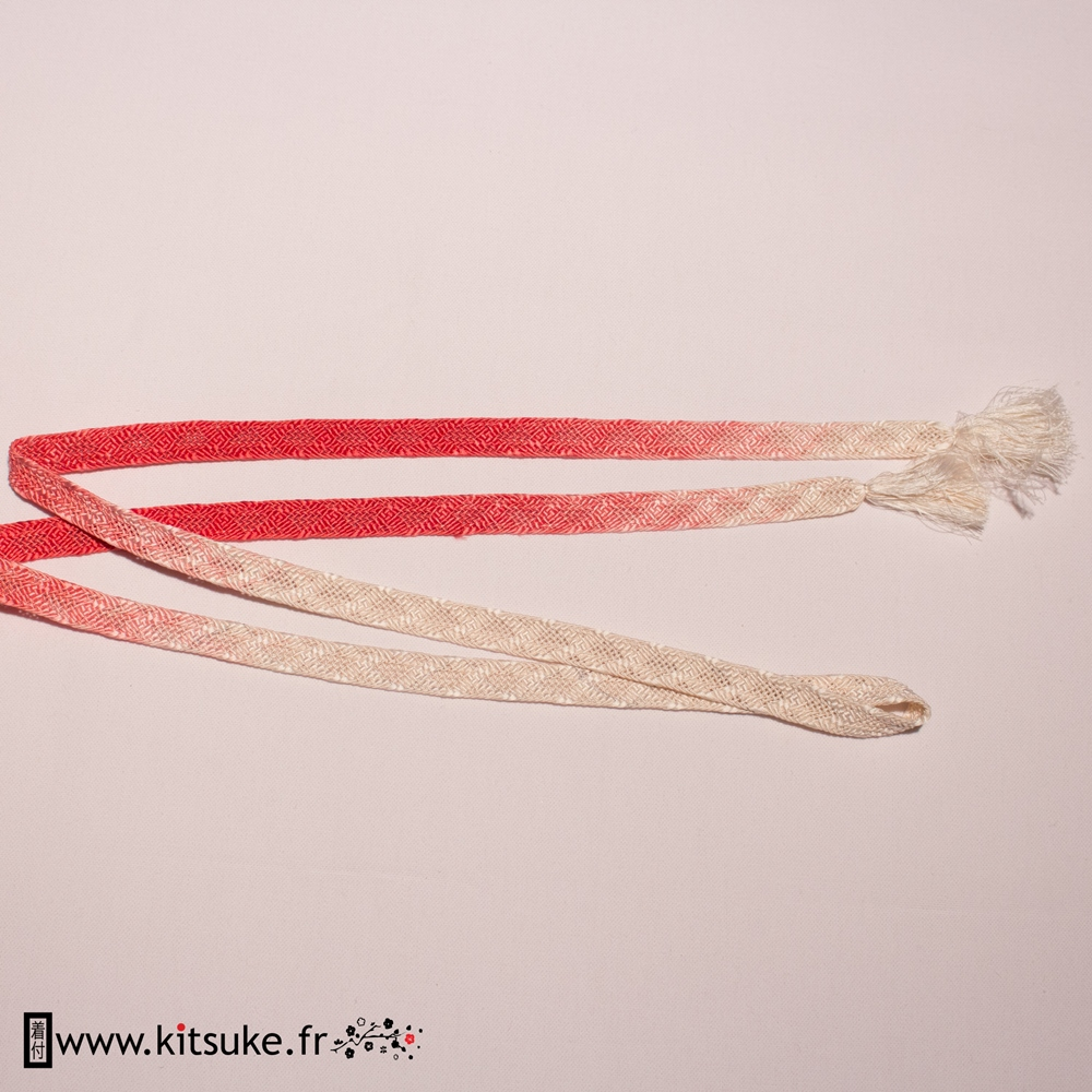 Cordon Obijime tréssé plat blanc et dégradé de rose foncé kitsuke