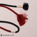 Cordon Obijime rond vert et rouge foncé kitsuke