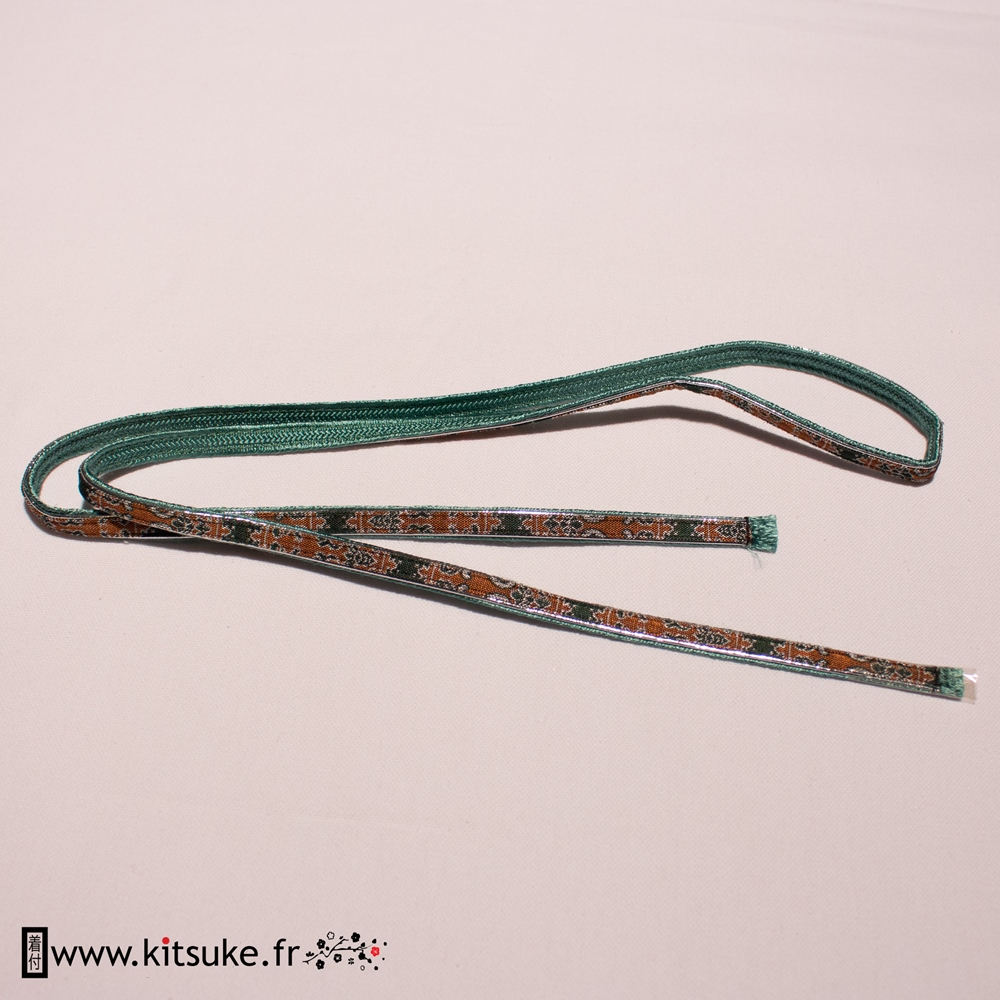 Cord Obijime flat one face with green and brown pattern, one green face kitsuke.fr
