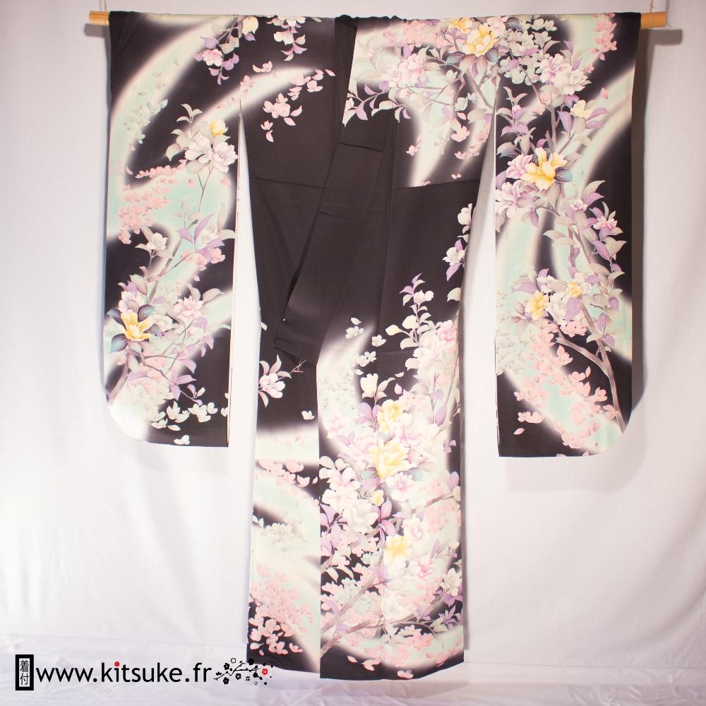 Kimono furisode woman black with yellow, purple and gray flowers kitsuke.fr