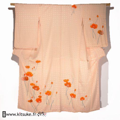 Kimono femme saumon clair avec motifs coquelicots HOUMONGI