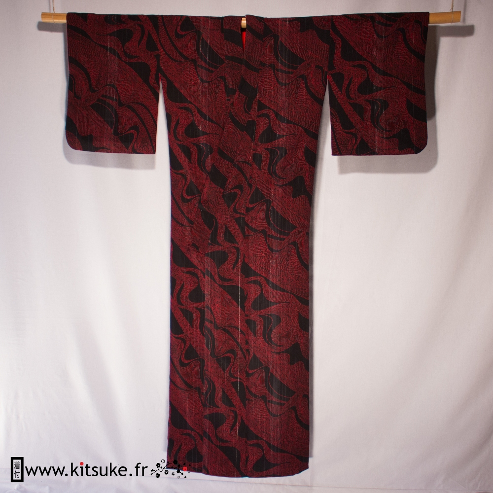kimono femme japonais vintage traditionnel rouge et noir. Black Bedroom Furniture Sets. Home Design Ideas