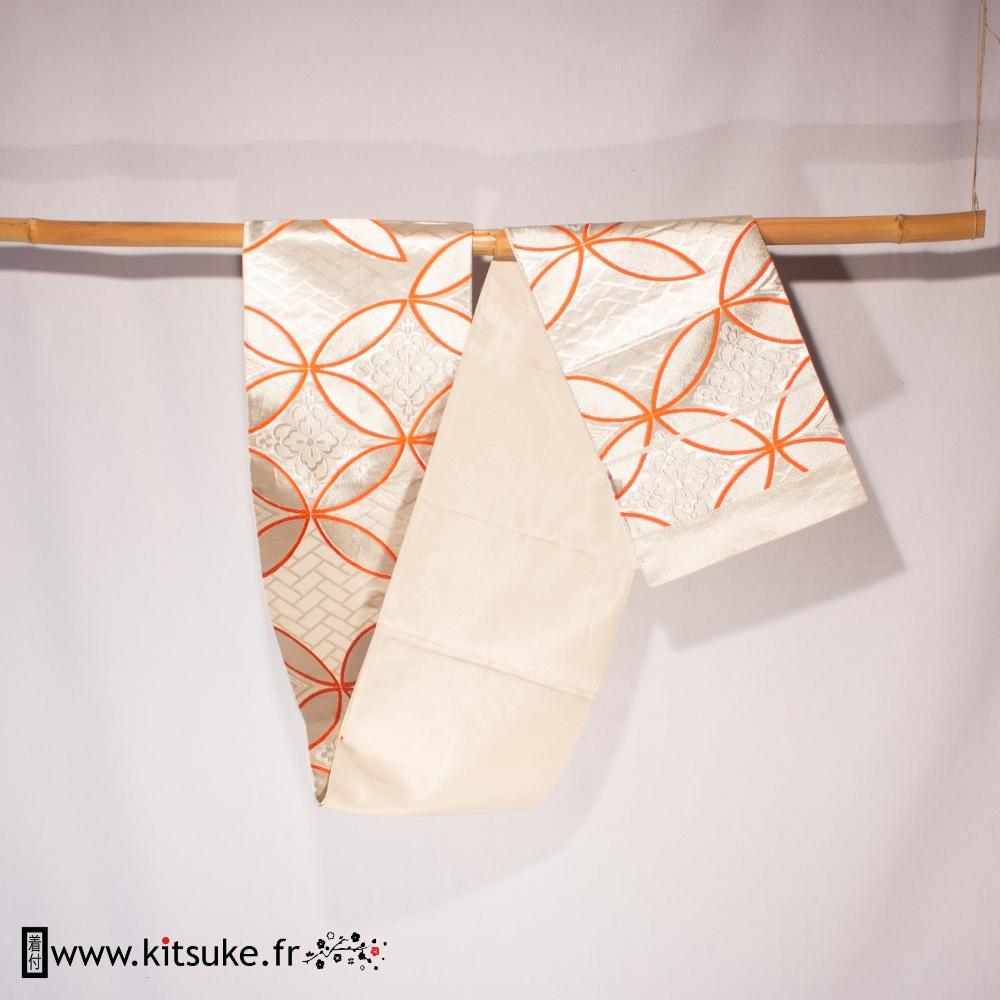 Fukuro obi blanc ceinture large japonaise traditionnelle kitsuke.fr