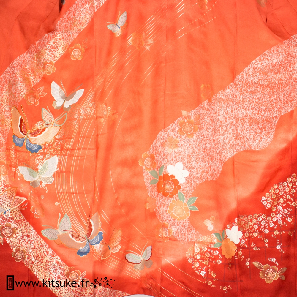 Kimono furisode pink salmon and light red with flowers and butterflies kitsuke.fr